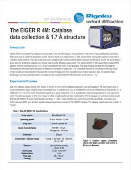 Using the EIGER 4M for single crystal X-ray diffraction on catalase